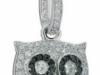 gufo in argento con zirconi bianchi