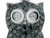 gufo in argento con zirconi neri
