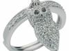 anello gufo charm in argento e zirconi bianchi
